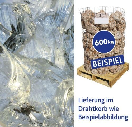 Glasbrocken Weiß 100-400mm 600kg Drahtkorb